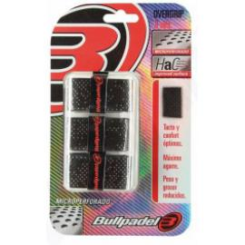 BLISTER 3 OVERGRIPS BULLPADEL NEGRO MICROPERFORADO